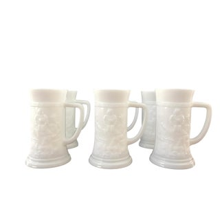 White Milk Glass Steins - Set of 6