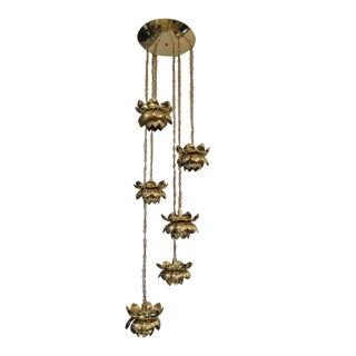 Rare and Gorgeous Brass Lotus Chandelier by Feldman with Six Lights