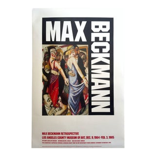 "Max Beckmann 1984 Lithograph Print Lacma Exhibition Poster "" Dance in Baden - Baden "" 1923"