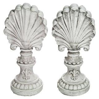 Cast Concrete Shell Finials - A Pair