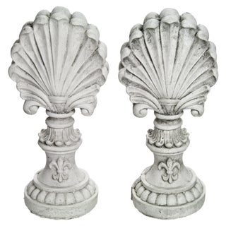 Cast Concrete Shell Finials - A Pair