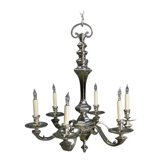 1940s French Nickel Plated Bronze Six-arm Chandelier