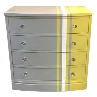 Grey & White Striped Chest of Drawers