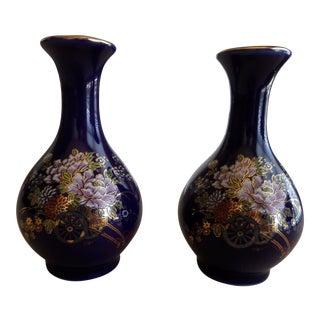 Japanese Kutani Cobalt Blue Bud Vases - A Pair