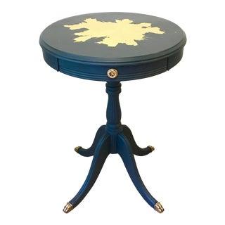 Midnight Blue Side Table With Freeform Gold Leaf Design