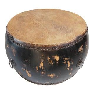 Black Distressed Drum Coffee Table
