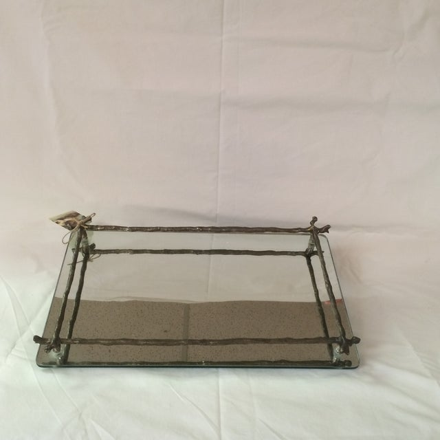 Mirrored Silver Faux Bois Tray - Image 6 of 6