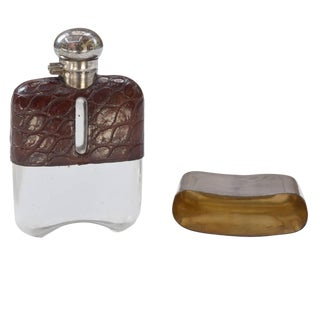 Stamped Leather and Silver Hip Flask