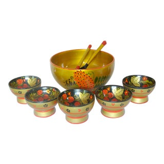Russian Lacquered Serving Bowls - Set of 6