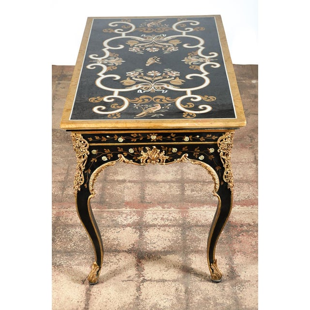 French Gilt Amp Ebonized Center Table W Marble Top Chairish