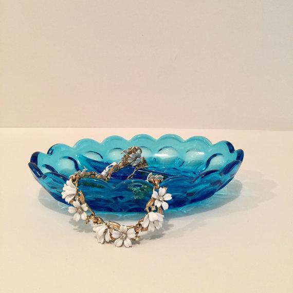 Image of Anchor Hocking Blue Glass Dish