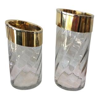 Brass Swirl Glass Vases - A Pair