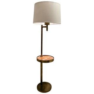 Mid-Century Brass Floor Lamp W/ Cerused Wood Tray Table