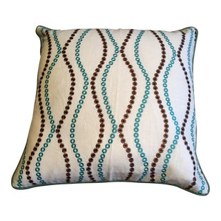 Embroidered Teal & Brown Wave Pillow