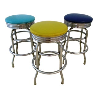 Mid-Century Multicolor Chrome Stools - Set of 3
