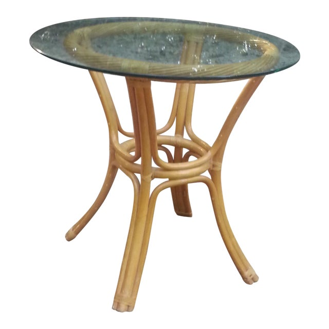 Beveled Glass Bamboo Table - Image 1 of 7