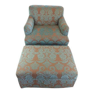 Belgian Linen & Velvet Chair and Ottoman Set