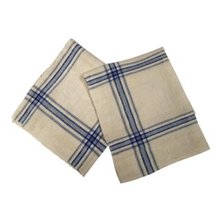 Vintage Homespun Flax Linen French Blue Plaid Towels - A Pair
