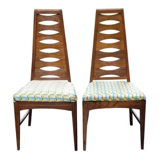 Mid-Century Modern Kent Coffey Perspecta Style Ladder Back Teak Wood Side Chairs - A Pair