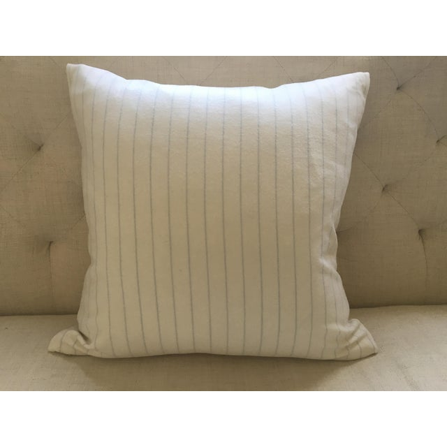 Holland & Sherry Ivory With Pale Blue Pinstripe Wool Pillow Cover - Image 8 of 8