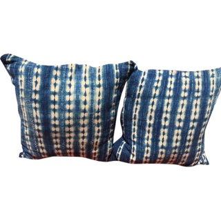 African Indigo Mudcloth Pillows - A Pair