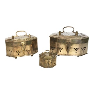Octagonal Brass Cricket Boxes - Set of 3