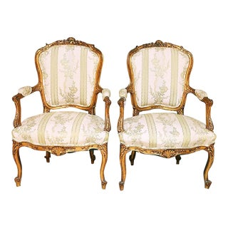 19th Century French Gilt Fauteuil Chairs- A Pair