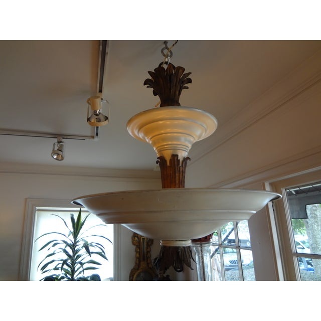 French Art Deco Tole & Bronze Chandelier - Image 2 of 7