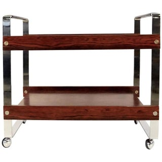 Brazilian Rosewood And Chrome Bar Cart