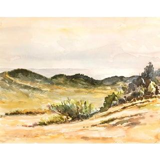 Vintage Chaparral Landscape Watercolor Painting