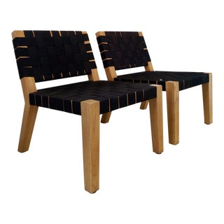 Jens Risom-Style Black Strapped Oak Lounge Chairs- a Pair