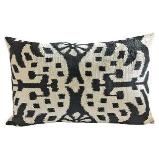 Black and Beige Silk Velvet Ikat Pillow