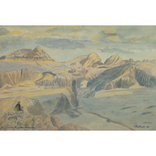 Vintage Italian Mountains Watercolor Painting,1956