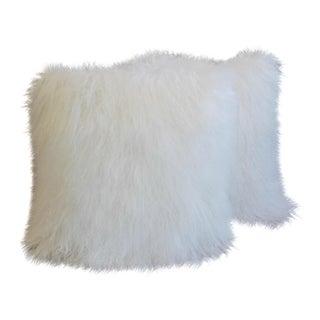 Arctic White Tibetan Lambswool & Velvet Pillows - a Pair