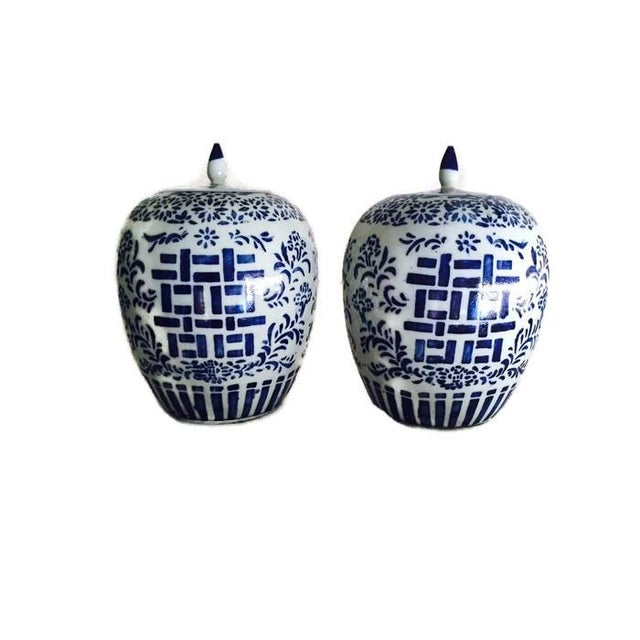 Image of Chinoiserie Ginger Jars, Double Happiness - A Pair