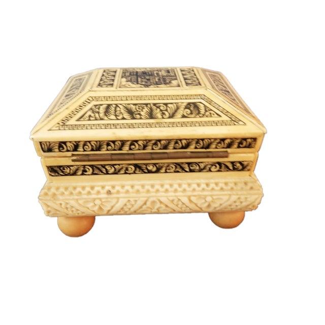 Image of Carved Bone Box w/Ball Feet