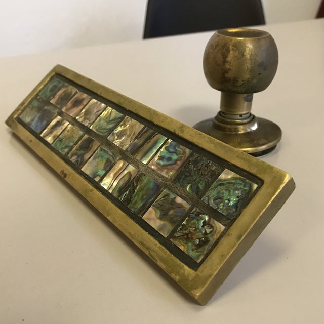 Image of Mid-Century Brass & Abalone Door Pull