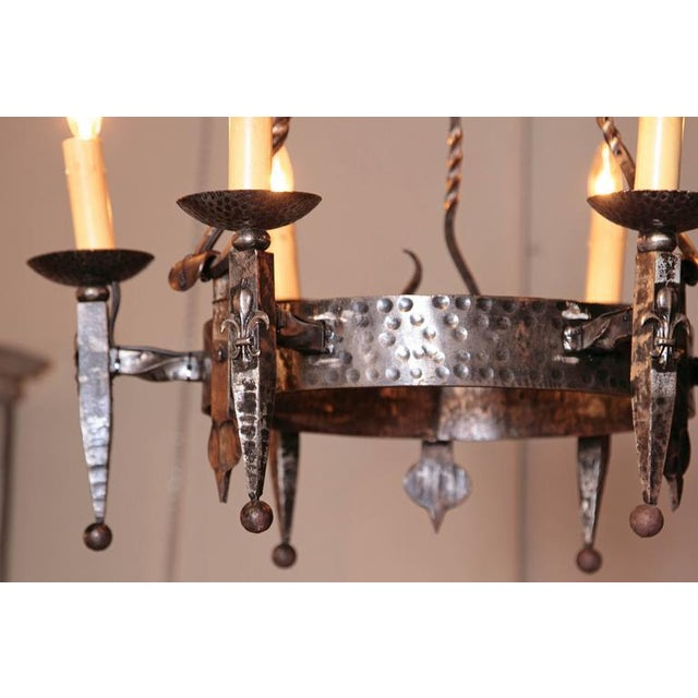 Early 20th Century French Wrought Iron Six-Light Chandelier - Image 10 of 10