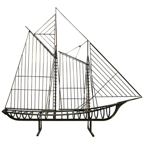 Image of Mid-Century Curtis Jere Ship Boat Sculpture