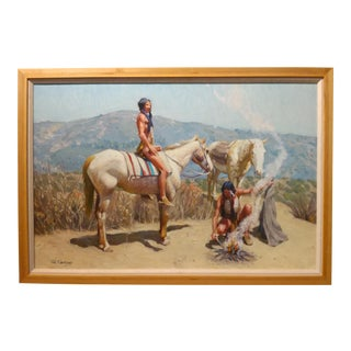 """Tim Solliday """"Native American Indians With Horses"""" Original Oil Painting"""