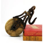 Image of Antique Cast Iron Industrial Farm Pulley