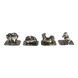 Portugal Silver Animal Place Card Holders - Set of 4