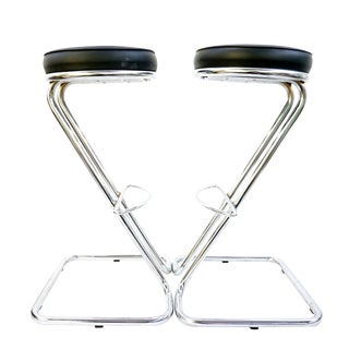 G.Rohde Modernist Art Deco Chrome Z Cantilever Barstools | a Pair | Custom Upholstery Available