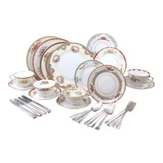 Vintage Mismatched Fine China & Silverware - Set of 32