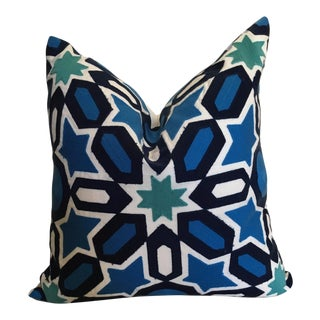 Moroccan Geometric Tile Blue Embroidered Linen Pillow Cover