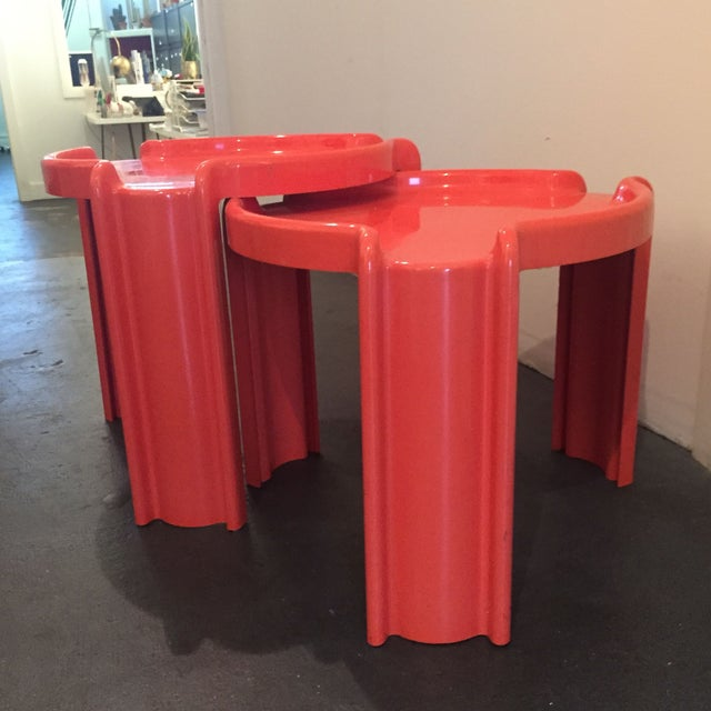 Image of Red Nesting Side Tables - A Pair