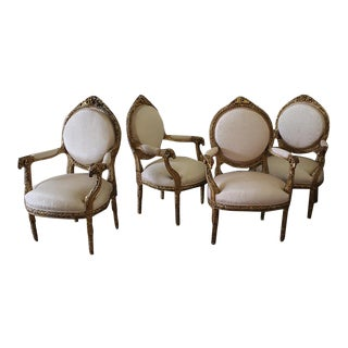 20th Century French Carved Giltwood Open Armchairs - 4 Available
