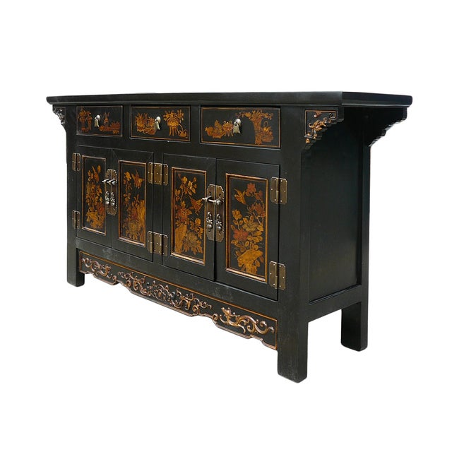 Vintage Golden Graphic Low Console Table - Image 4 of 8