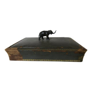 Antique Elephant Handled Leather Covered Box