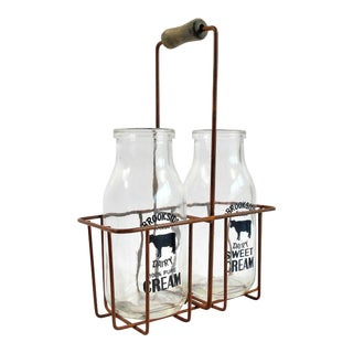 Vintage Cream Bottles & Metal Carrier - Set of 3